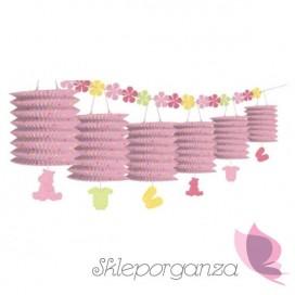 Dekoracje wiszące Girlanda różowe lampiony