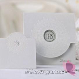 Zaproszenia komunijne biały ornament, 10 szt