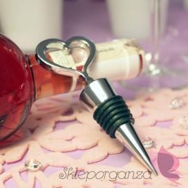 Gadżety weselne Srebrna zatyczka do wina serce