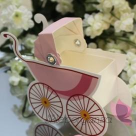 Pudełko wózek - różowy