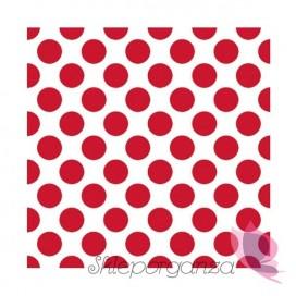 Serwetki 33x33 KROPKI białe - czerwone
