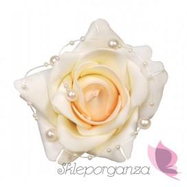 Róże z perełkami na przyssawkach, kremowe, 4szt