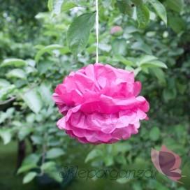 Papierowy kwiat, ciemnoróżowy, 15cm