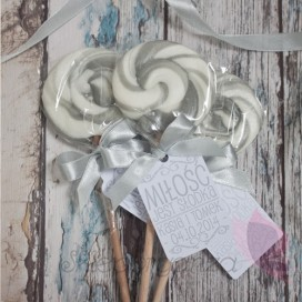 Lizak okrągły szary - personalizacja - kolekcja LOVE