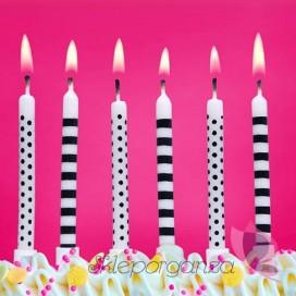 Figurki i świeczki Świeczki Kropki i Paski, dwa kolory, 6 szt