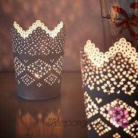Szkło, świeczniki, świece Świecznik biały KORONKA