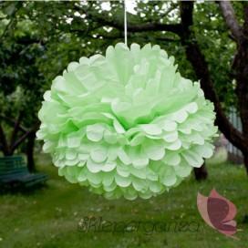 Papierowy kwiat, jasnozielony, 50cm