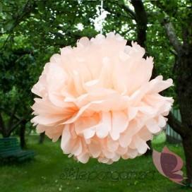 Papierowy kwiat, brzoskwiniowy, 50cm