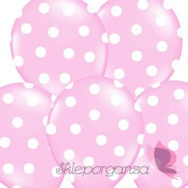 Balony jasnoróżowe w białe KROPKI, 6szt