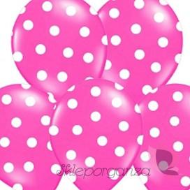 Balony różowe w białe KROPKI, 6szt