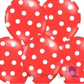Kropki Balony czerwone w białe KROPKI, 6szt