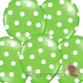 Balony zielone w białe KROPKI, 6szt