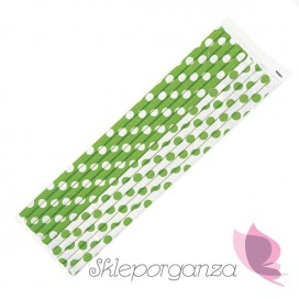 Słomki KROPKI zielone - białe