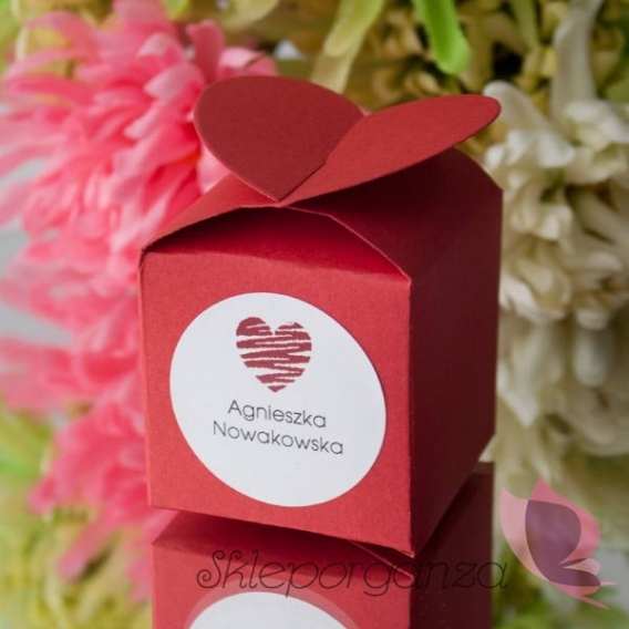 Pudełko serce czerwone - personalizacja WINIETKA