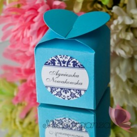 Pudełko serce niebieskie - personalizacja WINIETKA