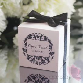 Pudełka Pudełko kostka biała - personalizacja kolekcja DAMASK