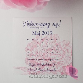 Zawiadomienia Zawiadomienie ślubne - personalizacja kolekcja PIWONIA