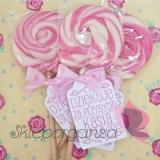 Upominki dla gości Lizak okrągły różowy - personalizacja