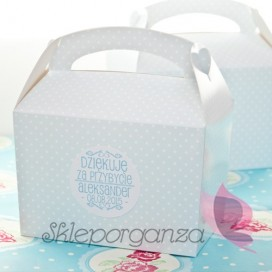 Upominki dla gości Pudełko na ciasto - personalizacja NIEBIESKIE KROPECZKI KIDS