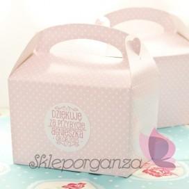 Upominki dla gości Pudełko na ciasto - personalizacja RÓŻOWE KROPECZKI KIDS