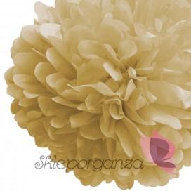 Papierowe kule kwiatowe pompony Papierowy kwiat, beżowy, 35cm