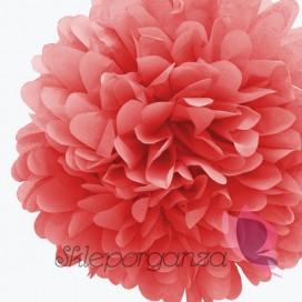 Papierowy kwiat, koralowy, 35cm