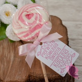 Lizak okrągły różowy - personalizacja - Komunia