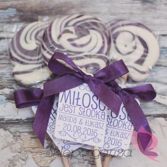 Lizak okrągły fioletowy - personalizacja - kolekcja LOVE