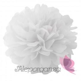 Papierowe kule kwiatowe pompony Papierowy kwiat, biały, 25cm