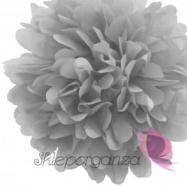 Papierowy kwiat, pompon, szary, 35cm