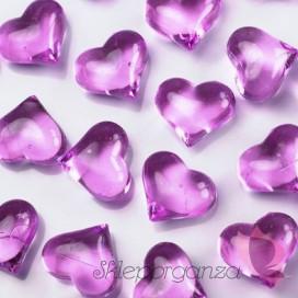 Kryształowe serca ciemnoróżowe 30 sztuk