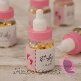 Upominki dla gości Buteleczka z cukierkami różowa - personalizacja