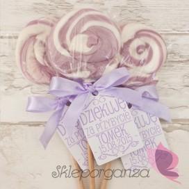 Upominki dla gości Lizak okrągły liliowy - personalizacja