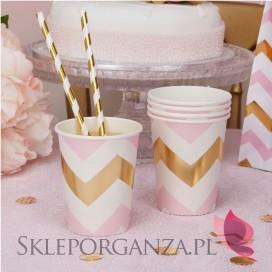 Kolekcja Baby Shower Różowe Groszki/ Chevron Kubeczki różowo-złote CHEVRON, 8szt.