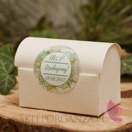 WOODLAND Pudełko kuferek śmietankowy - personalizacja kolekcja WOODLAND