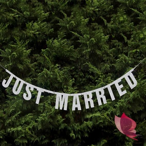 Banery Baner Just Married srebrny
