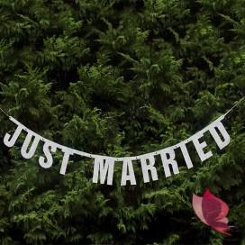Baner Just Married srebrny