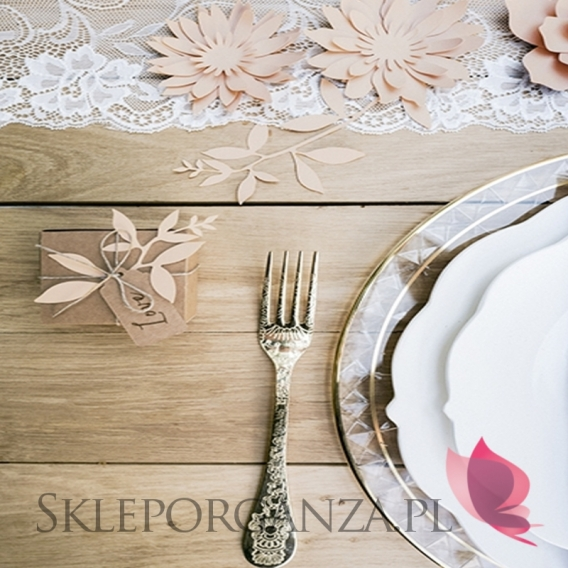 Dekoracyjne gałązki papierowe pudrowy róż