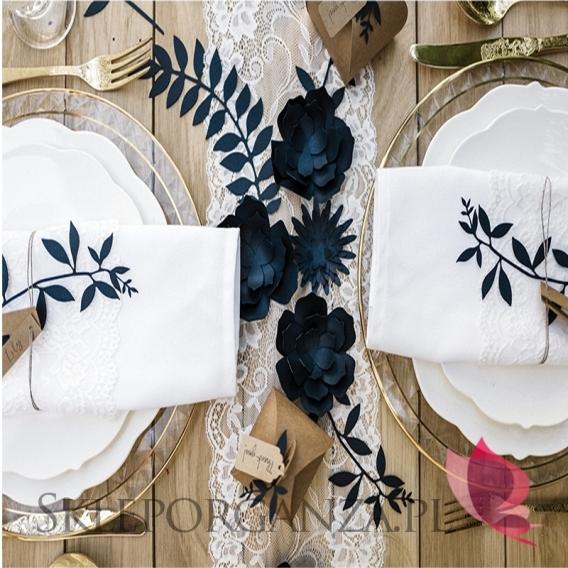 Papierowe dekoracje Dekoracyjne kwiaty granatowe, 3 szt.