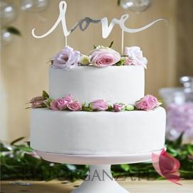 Topper na tort – LOVE srebrny