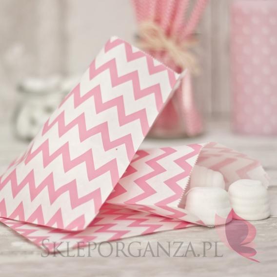 Papierowa torebka CHEVRON różowa