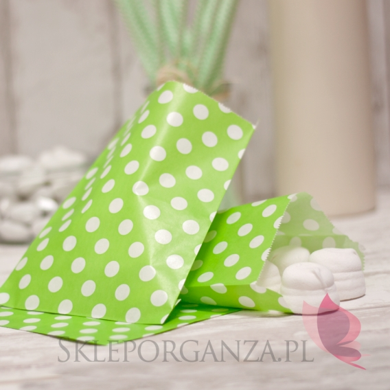 Pudełka i Torebki Papierowa torebka KROPKI zielona