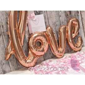 Balony love metaliczne rose gold