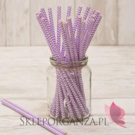 Papierowe słomki fioletowe CHEVRON 25szt