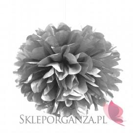 Papierowe kule kwiatowe pompony Papierowy kwiat metaliczny, srebrny, 25cm