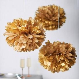 Papierowe kule kwiatowe pompony Papierowy kwiat metaliczny, złoty, 50cm