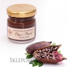 Podziękowanie dla gości - miód z kakao - personalizacja