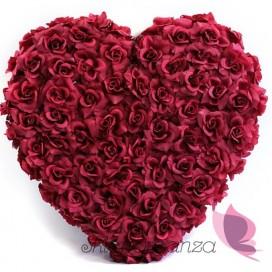 Serce z kwiatów pełne bordowe, 50cm