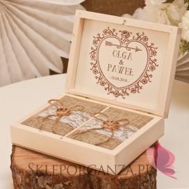 Vintage Drewniane pudełko na obrączki - personalizacja