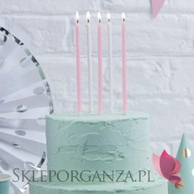 Fontanny i świeczki Świeczki brokat biało-różowe wysokie 24szt.